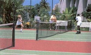 Two Tennis courts with lights